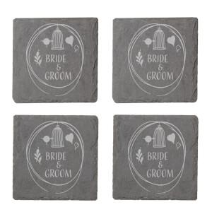 Bride & Groom Engraved Slate Coaster Set
