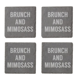 Brunch And Mimosass Engraved Slate Coaster Set
