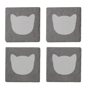 Cat Outline Engraved Slate Coaster Set