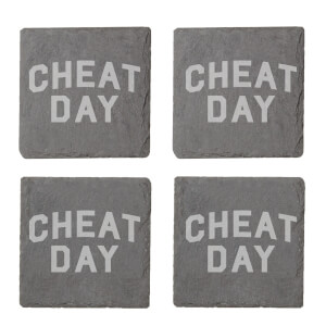 Cheat Day Engraved Slate Coaster Set