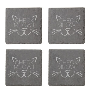 Check Meowt Engraved Slate Coaster Set