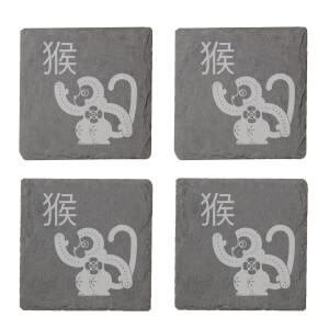 Chinese Zodiac Monkey Engraved Slate Coaster Set