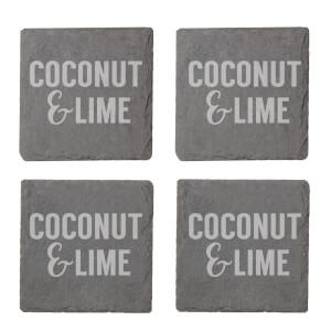 Coconut & Lime Engraved Slate Coaster Set
