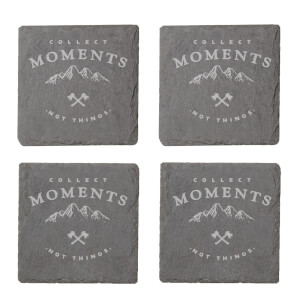 Collect Memories Not Things Engraved Slate Coaster Set