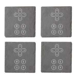D Pad Engraved Slate Coaster Set