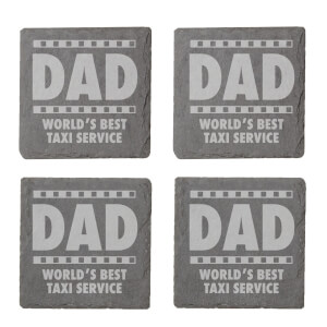 Dad World's Best Service Taxi Service Engraved Slate Coaster Set