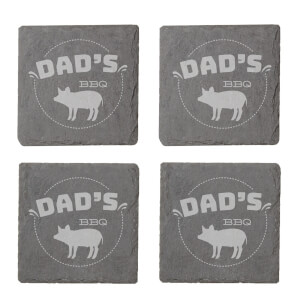 Dad's Bbq Engraved Slate Coaster Set