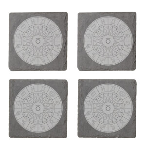 Decorative Horoscope Symbols Engraved Slate Coaster Set