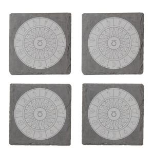 Decorative Planet Symbols Engraved Slate Coaster Set