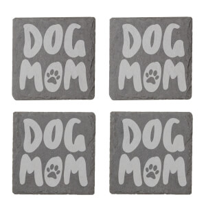 Dog Mom Engraved Slate Coaster Set