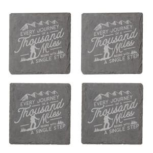 Every Journey Engraved Slate Coaster Set