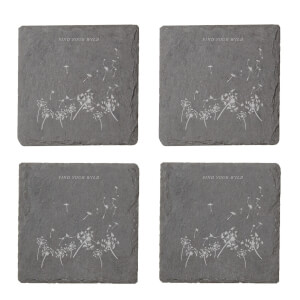 Find Your Wild Engraved Slate Coaster Set
