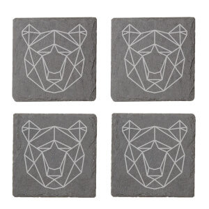 Geometric Bear Head Engraved Slate Coaster Set