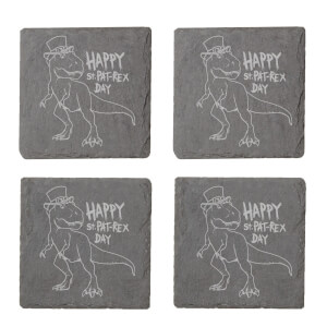 Happy St. Pat-Rex Day Engraved Slate Coaster Set