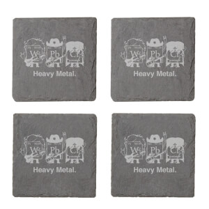 Heavy Metal Engraved Slate Coaster Set
