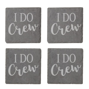 I Do Crew Engraved Slate Coaster Set