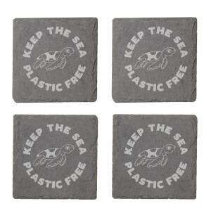 Keep The Sea Plastic Free Engraved Slate Coaster Set