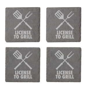 License To Grill Engraved Slate Coaster Set