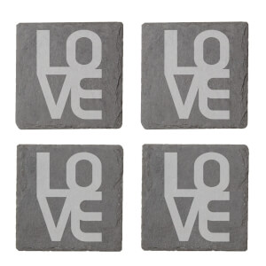LOVE Engraved Slate Coaster Set