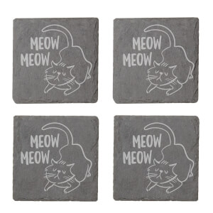 Meow Meow Cat Engraved Slate Coaster Set