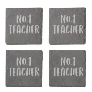No.1 Teacher Engraved Slate Coaster Set