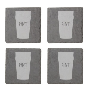 Pint Engraved Slate Coaster Set