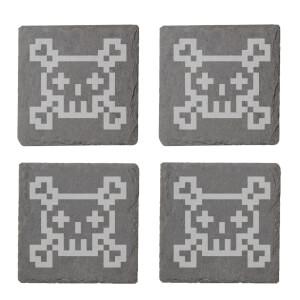 Pixel Skull And Cross Bones Engraved Slate Coaster Set