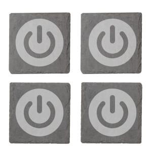 Power On Engraved Slate Coaster Set