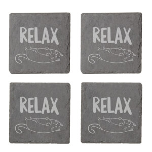 Relax Engraved Slate Coaster Set