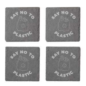 Say No To Plastic Engraved Slate Coaster Set