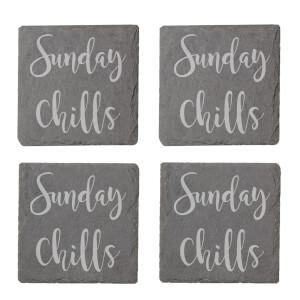 Sunday Chills Engraved Slate Coaster Set