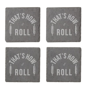That's How I Roll Engraved Slate Coaster Set