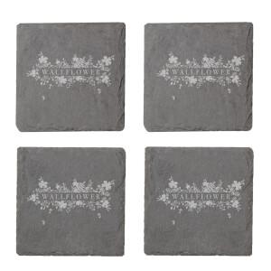 Wall Flower Engraved Slate Coaster Set