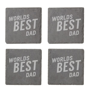Worlds Best Dad Engraved Slate Coaster Set