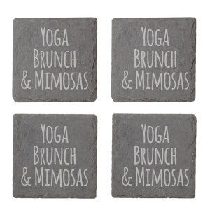 Yoga, Brunch & Mimosas Engraved Slate Coaster Set
