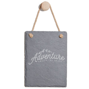 Adventure Awaits The Brave Engraved Slate Memo Board - Portrait