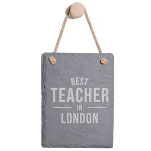 Best Teacher In London Engraved Slate Memo Board - Portrait