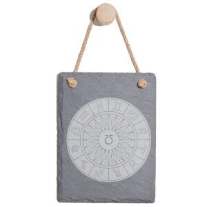 Decorative Horoscope Symbols Engraved Slate Memo Board - Portrait
