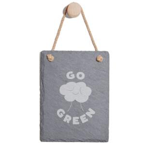 Go Green Engraved Slate Memo Board - Portrait