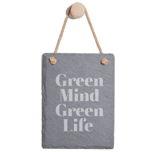 Green Mind Green Life Engraved Slate Memo Board - Portrait