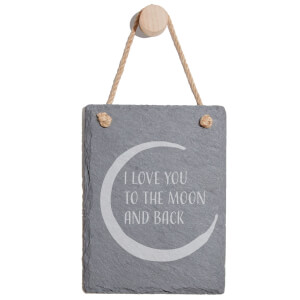 I Love You To The Moon And Back Engraved Slate Memo Board - Portrait