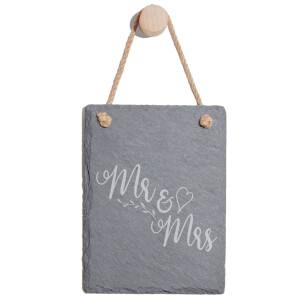 Mr & Mrs Engraved Slate Memo Board - Portrait