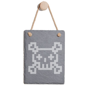Pixel Skull And Cross Bones Engraved Slate Memo Board - Portrait