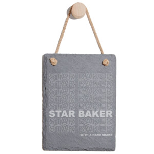 Star Baker With A Hand Shake Engraved Slate Memo Board - Portrait