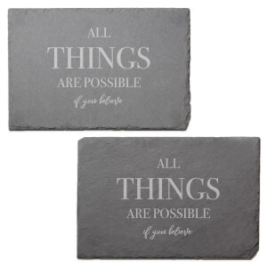 All Things Are Possible Engraved Slate Placemat - Set of 2