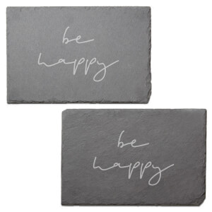 Be Happy Engraved Slate Placemat - Set of 2