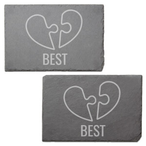 Best Friend Jig Saw Engraved Slate Placemat - Set of 2