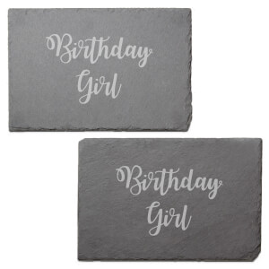Birthday Girl Engraved Slate Placemat - Set of 2