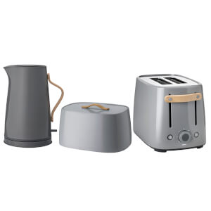 Stelton Emma Toaster, Kettle and Bread Box Set - Grey (Worth £376.00)