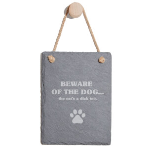 Beware Of The Dog Engraved Slate Memo Board - Portrait